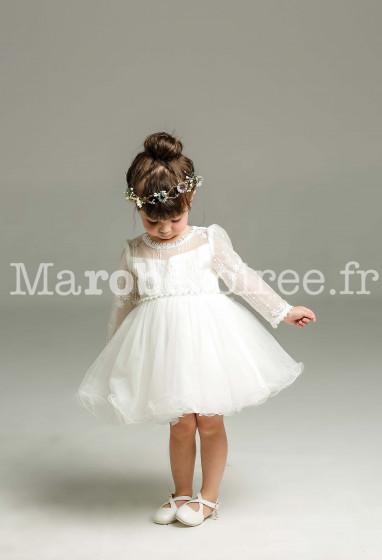 Belle robe baptême bébé à manches