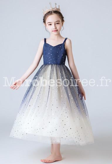 robe de demoiselle scintillante bleu nuit et champagne