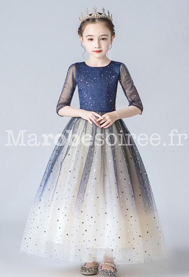 jolie robe cérémonie fille bleu nuit scintillante étoile