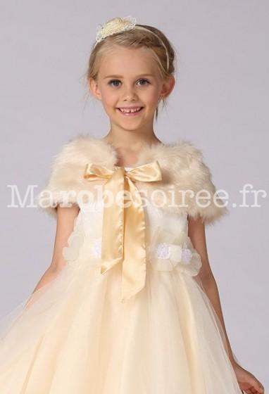 Cape douce pour petite fille en blanc et rose réf 004