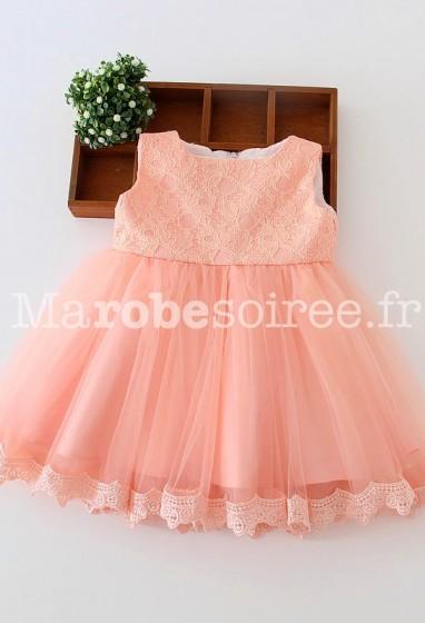 Robe enfant pour mariage thème princesse avec nœud amovible réf: EF9002