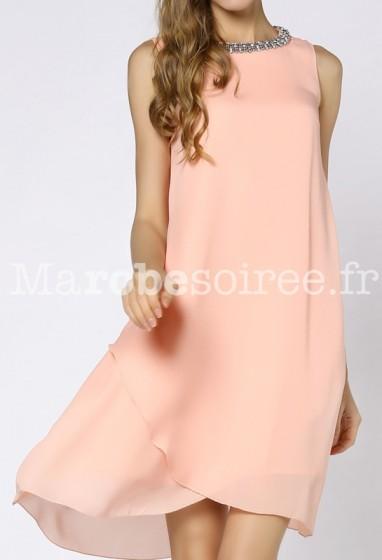 Robe de cocktail voile rose pastel réf YY7620