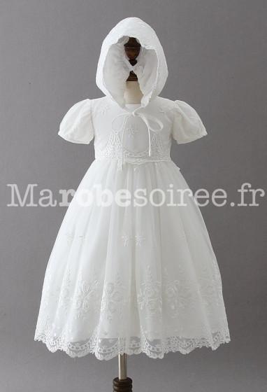 robe baptêmes bébé enfant blanche manches courtes