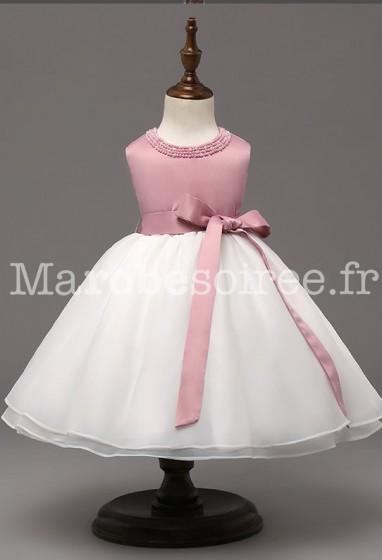 Robe bébé rose poudré ceinture à ruban