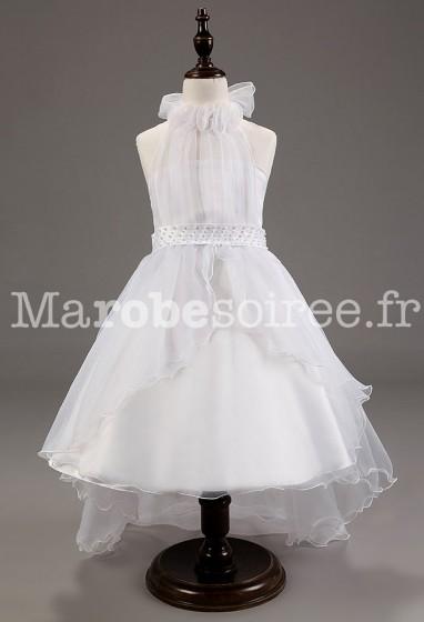 Robe blanche asymétrique pour petites filles