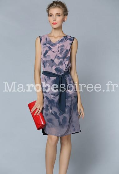 Robe de cocktail fluide violette à motif réf YY7816