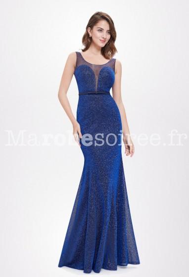 Robe de bal bleue sirène bretelles en voile Réf EP8822