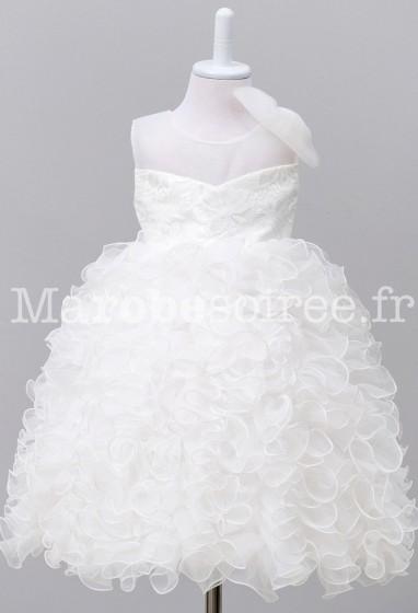 Robe de soirée princesse fille froufrou blanc