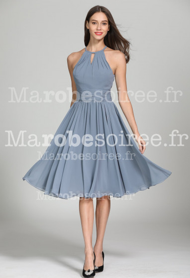 Jolie robe de cocktail dos nu grise - Réf 1946