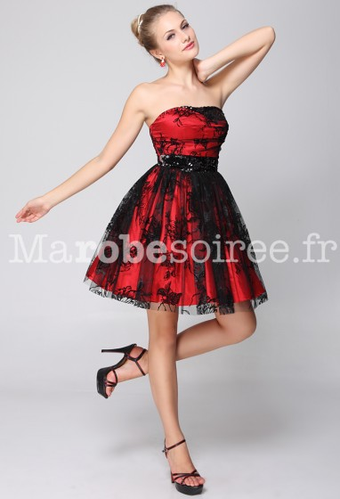 b50d9d5b381 ... courte rouge et noir ornée de broderie. robe de soirée mariage robe de  cocktail cérémonie 4073