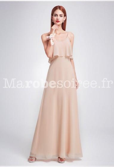 Robe de soirée longue à fines bretelles rose nude EP7131