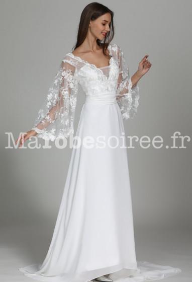 Robe de mariée fluide manches larges