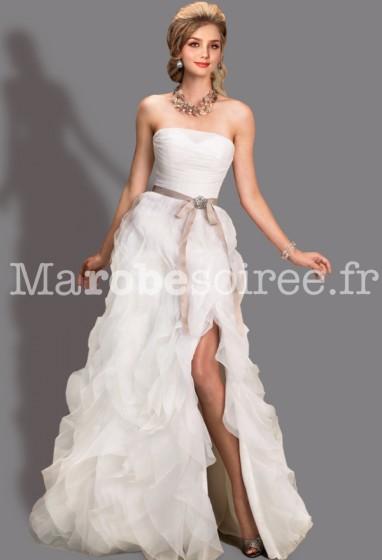 robe de mariée ouverture ceinture organza cascade