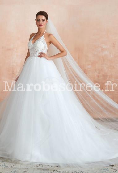 Robe de mariée bustier en dentelle princesse