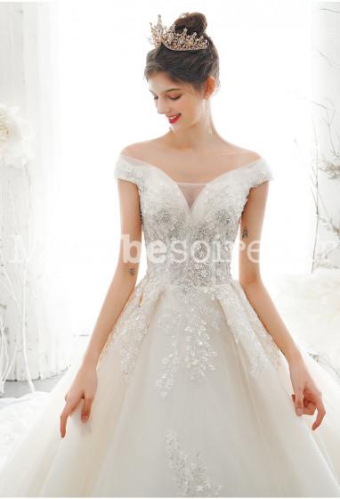 Robe de mariée col bardot princese