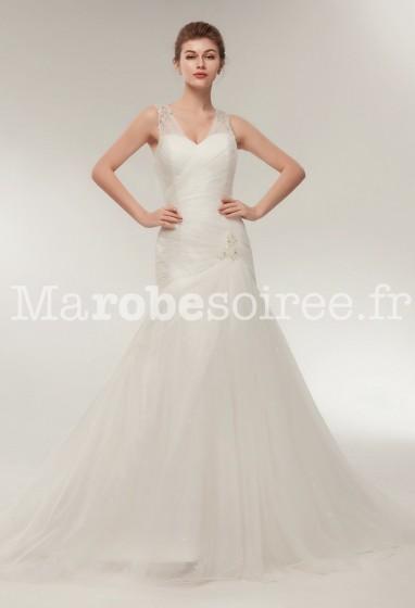 Robe de mariée drapée sirène ivoire bretelles