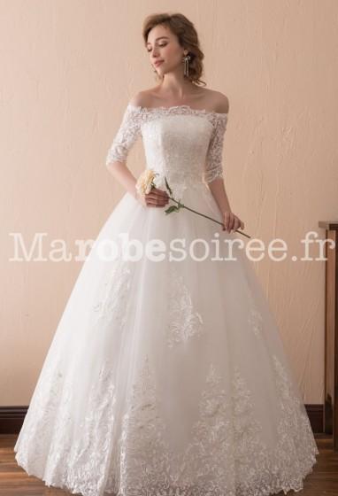 Robe de mariée dentelle manches longues