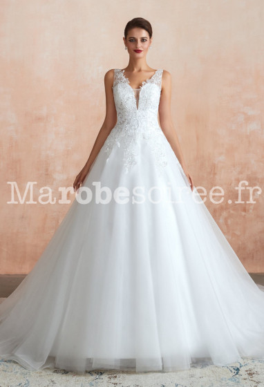 Robe de mariée décolleté vertigineux avec strass - Réf: SQ364 Sur demande