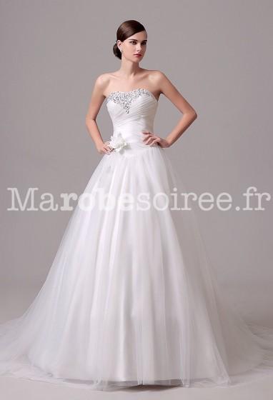 Robe de mariée effet princesse coupe évasée