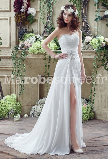 buy top design fast delivery Robe de mariée simple avec bustier drapé