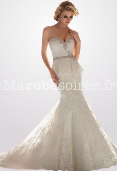 robe de mariée sirène ceinture perlée