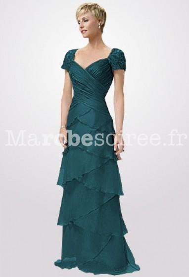 b585ce9cfd1c2 robe de soirée bleu paon simple et sophistiquée dentelle