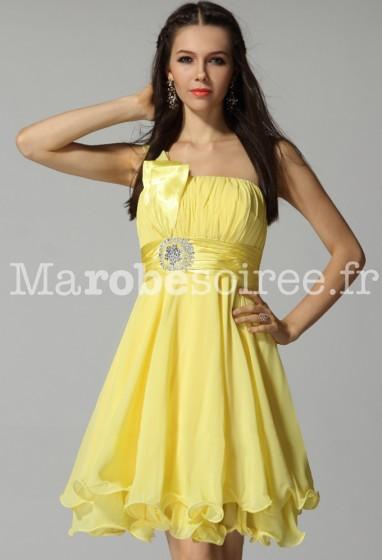 robe de soirée courte avec bretelle asymétrique sur mesure