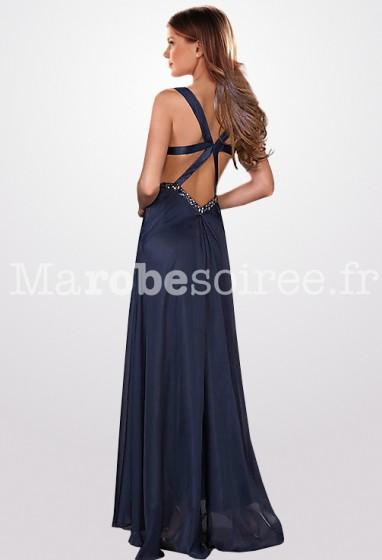Robe de soirée dos nus couleur bleu marine