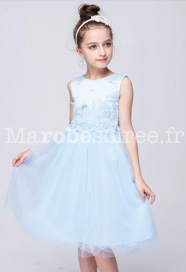 Robe de cortège enfant fille bleu pastel