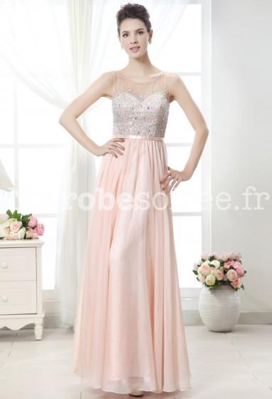 Robe de cérémonie longue fluide rose nude à bretelles avec bustier transparent et strass réf 9833