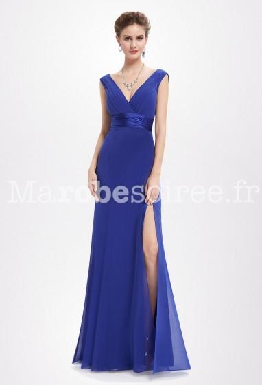 Robe de soirée bleu roi taille marquée Réf EP8743