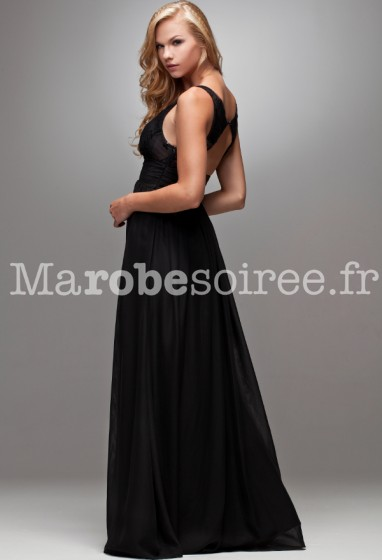 Robe de soir e carole longue vas e noir ceinture en forme for Feuille de piano robe de mariage