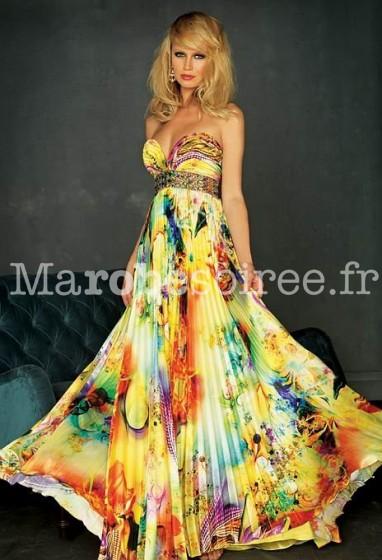 robe de soirée longue imprimée fleurie