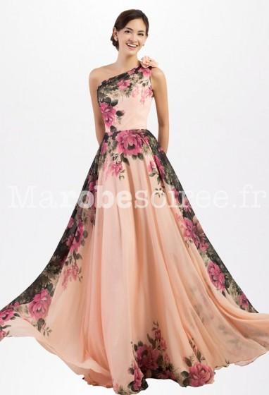 Robe de soirée imprimé floral épaule asymétrique - réf QSY1650