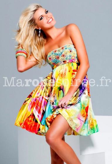 robe de soirée strass et fleurs