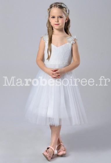 Robe de cortège enfant blanc en dentelle