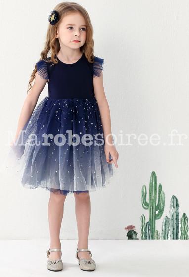 robe de cérémonie enfant bleu dégradée en tulle scintillant