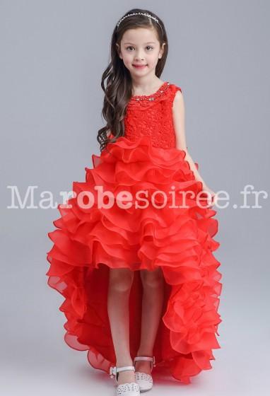 Robe jeune fille rouge asymétrique à volants