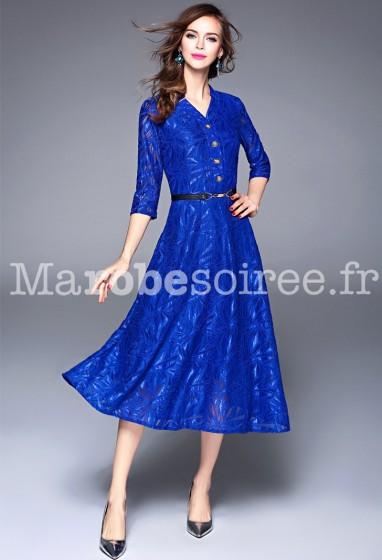 Robe habillée bleu roi manches 3/4 réf CY8880