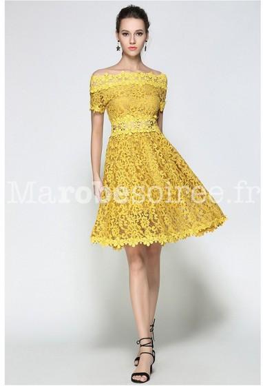 Robe habillée jaune bretelles tombantes réf CY9309