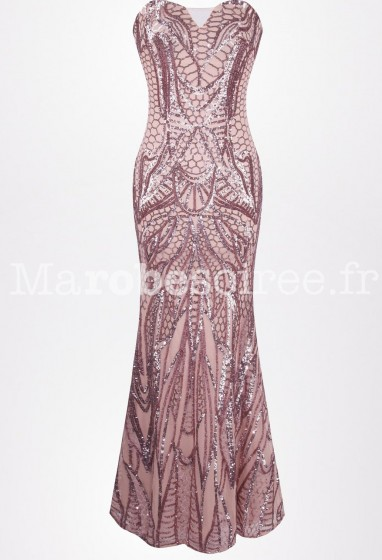 Robe de soirée sexy fourreau rose Réf: 1033