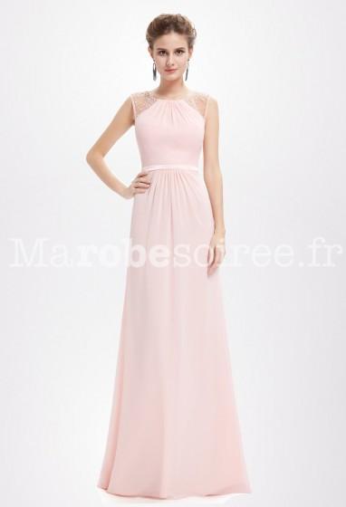 Rose longue nude bretelles cérémonie  - Réf EP8742