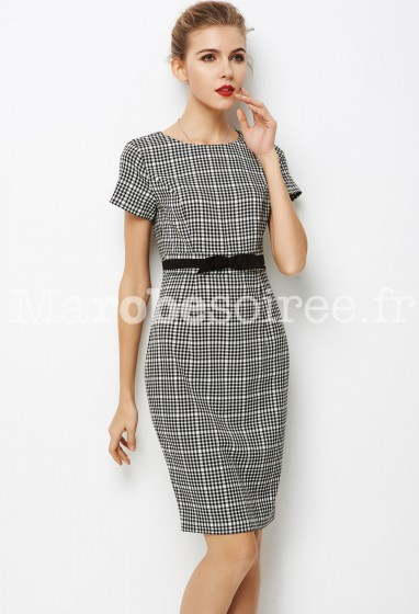Robe tailleur à carreaux noir et blanc  réf YY7606