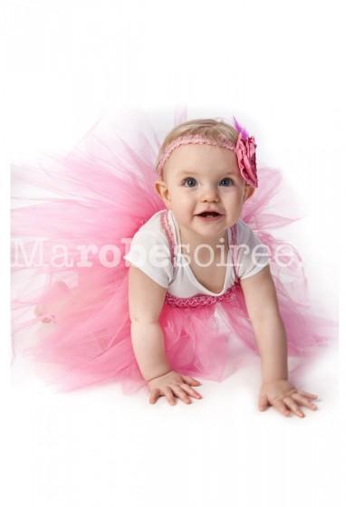 Robe de cortège enfant rose volumineuse