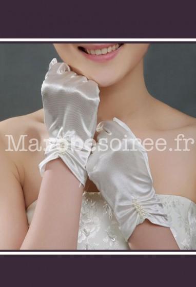 gants mariée strass et perles en satin s24