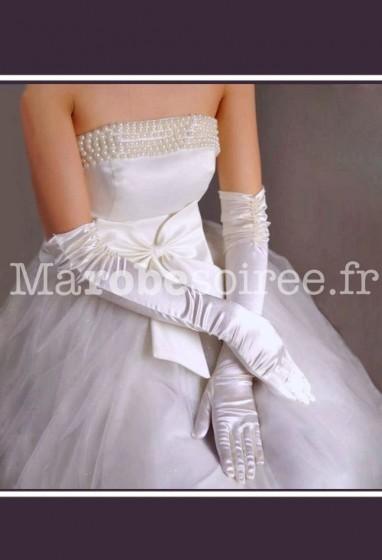 gants mariée long satin strass dentelle perles s34