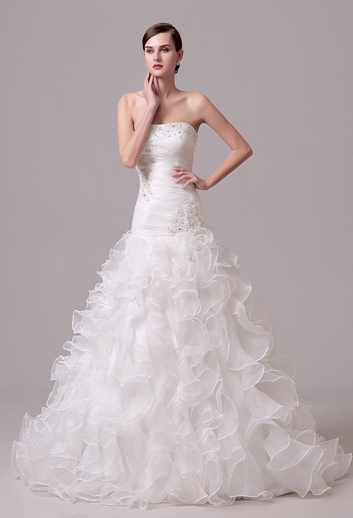 Robe de mariée sirène bas froufrou à traî