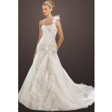 Déstockage - Robe de mariée ornée de broderie à motif floral -  réf.608