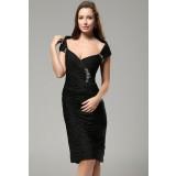 viki - robe de soirée élégante près du corps noir réf 9635