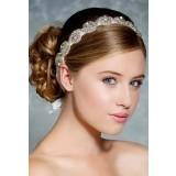 Bandeau tête blanc en strass et perles à spirales arrondies - réf xh23